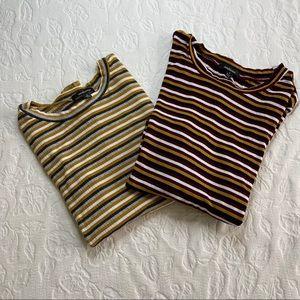Two Ambiance Long Sleeve Striped Shirts